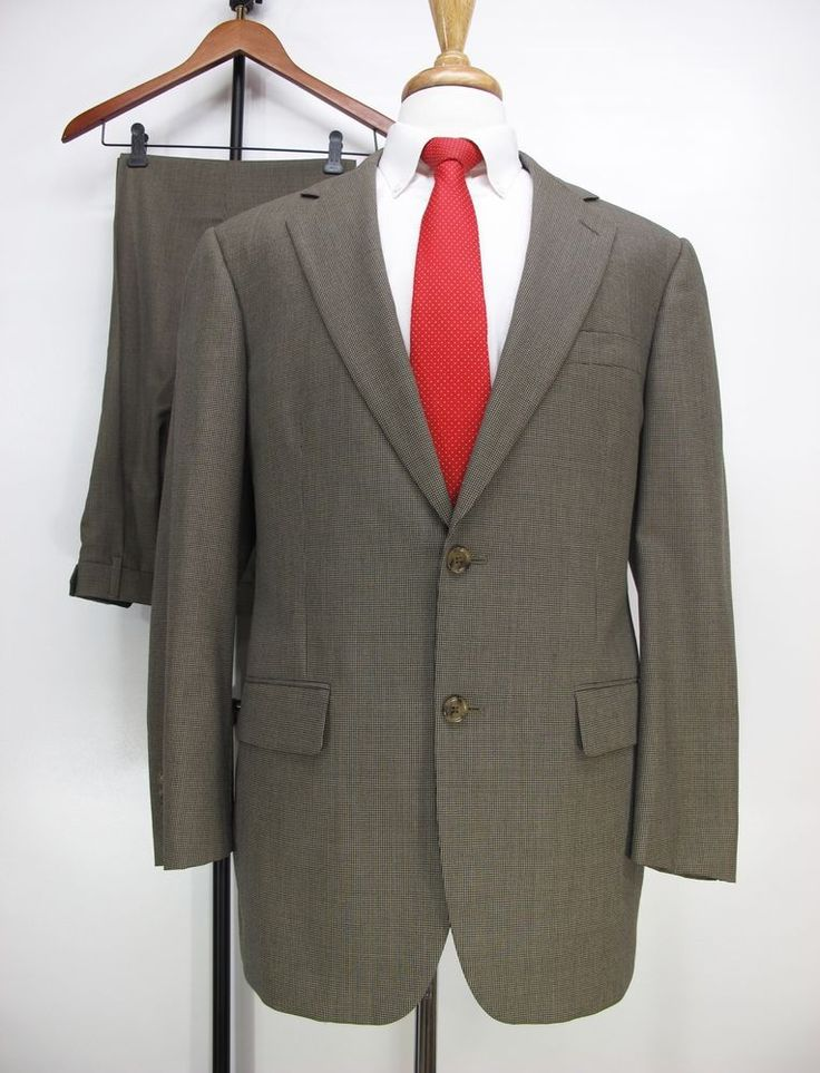 Brooks Brothers BrooksEase Houndstooth Tan Mens Suit USA Wool 40R 37W 31L #BrooksBrothers #TwoButton