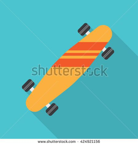skateboard flat icon. vector illustration. Flat icon isolated with long shadow.