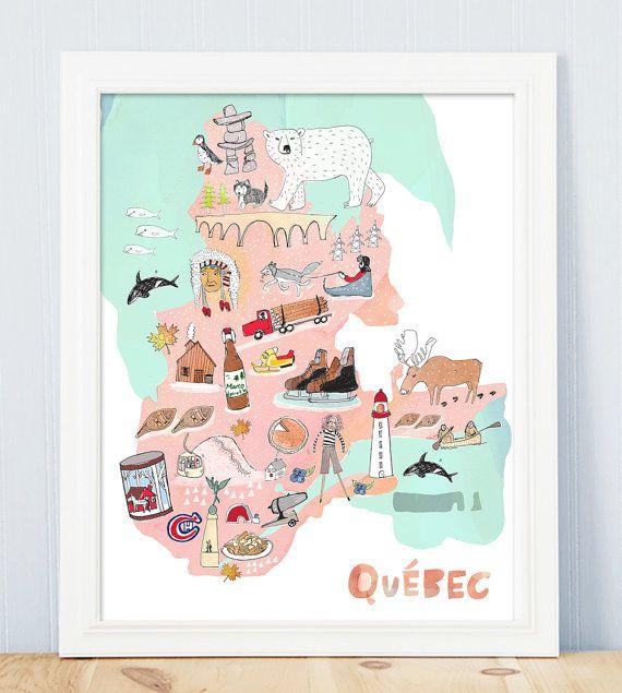 Province de Québec Carte Aquarelle canada dessin illustration Cette belle carte lumineuse saffiche juste derrière un mur avec son style