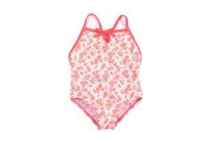 Traje de baño entero para bebe niña, en tela estampada con florecitas en colores fosforescentes, anaranjado, rosado y verde.