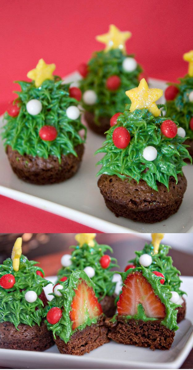 Strawberry Christmas Tree Brownie Bites | 19 Cute Treats For People Who Really Love Christmas