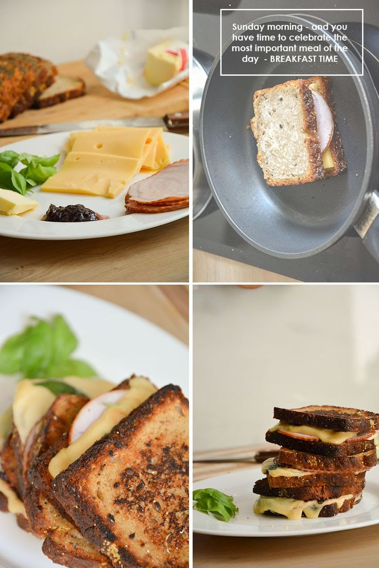 Grilled Cheese Sandwich with plum jam.  2 slices wholemeal bread 1 tsp butter  1 tsp plum jam 1 pound honey smoked ham deli meat, shaved 2 slices  ham fresh basil