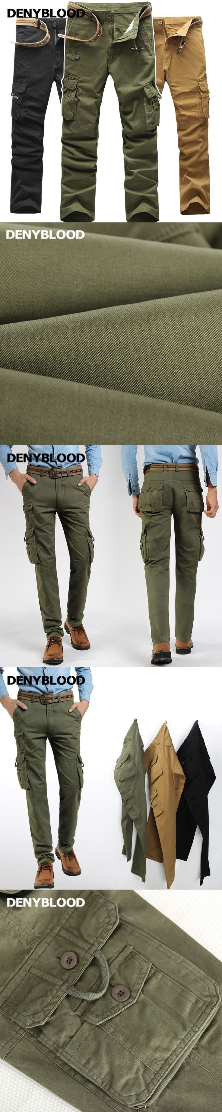 Denyblood Jeans Men Cargo Pants Multi Pocket Military Army Green Chinos Mens Outwear Casual Pants Long Trousers 0471