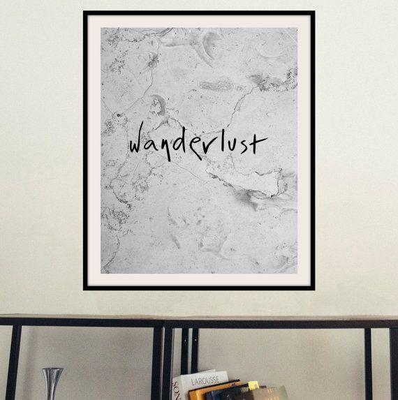 Printable inspirational wall art Wanderlust by mntpaperwork