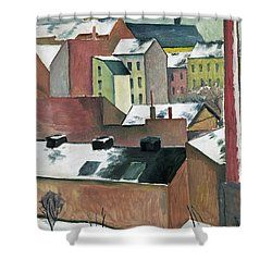 The Church Of St Mary In Bonn In Snow Shower Curtain by August Macke