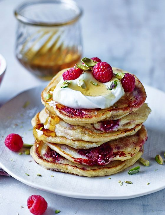 The most amazing ricotta and raspberry pancakes with pistachios...mmm brunch