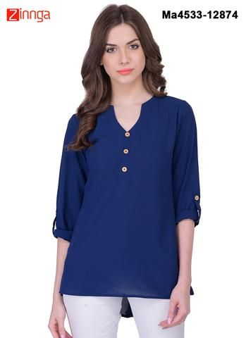 MAYLOZ E-COMMERCE-Women's Stylish  Blue  Color Georgette Top