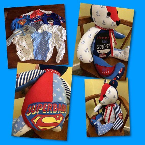 Baby Clothes Bear, Memory Teddy Bear, keepsake Bear, Sympathy Gift, Christmas Gift, Childs Memory Bear, Personalised Teddy