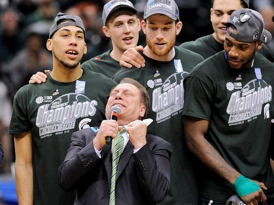 Michigan State Spartans head coach Tom Izzo addresses the crowd with an emotional speech after his team defeated the Michigan Wolverines, 69-55 in the championship game for the Big Ten college basketball tournament at Bankers Life Fieldhouse in Indianapolis. (Photo: Thomas J. Russo | USA TODAY Sports)