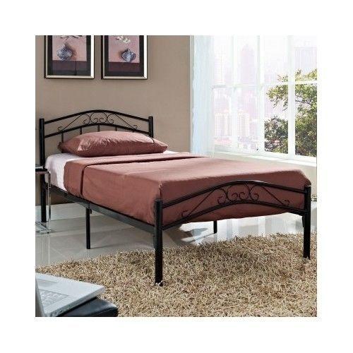 twin size bed frame metal black headboard footboard boys girls bedroom furniture - Boys Twin Bed Frame