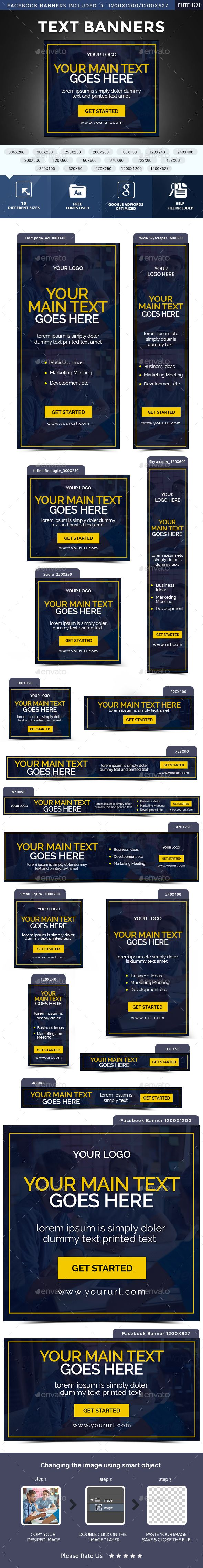 Text Web Banners Template PSD. Download here: http://graphicriver.net/item/text-banners/15021955?ref=ksioks