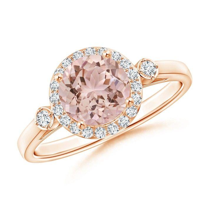 Angara Split Shank Round Morganite Halo Ring with Cluster Diamonds 154pZx0l