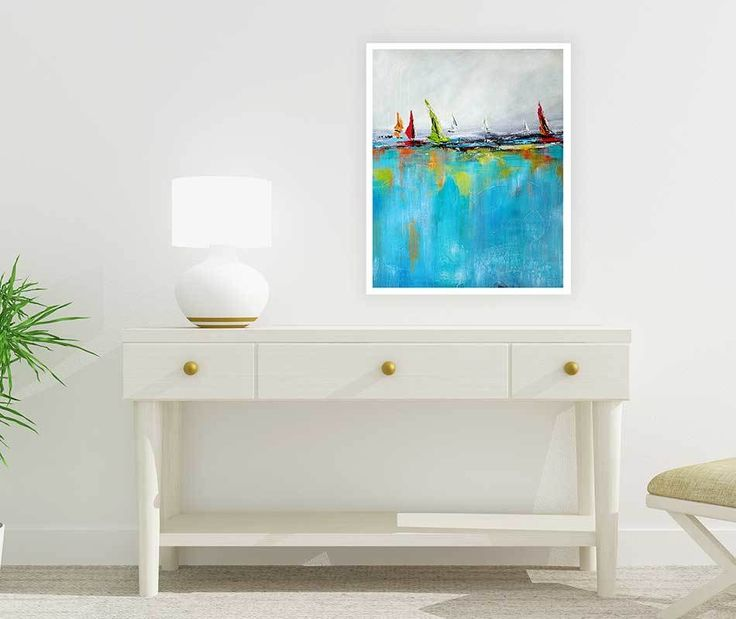 Printable Seascape Painting, Yacht Art, Digital Download