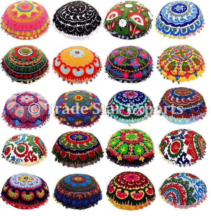 "Indian Uzbek Suzani Cushion Cover Ethnic Embroidered Pillow Case 16""Round Pillow #Handmade #ArtDecoStyle"