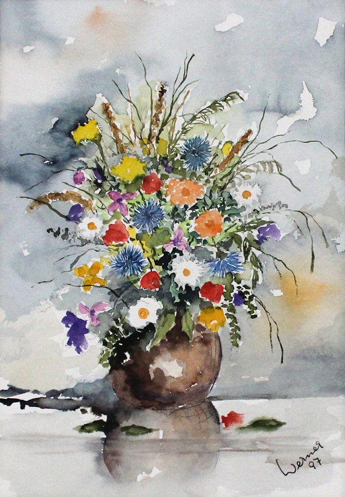 Aquarell Fruhlingsblumen Original Blumenstrauss Gemalde Bild