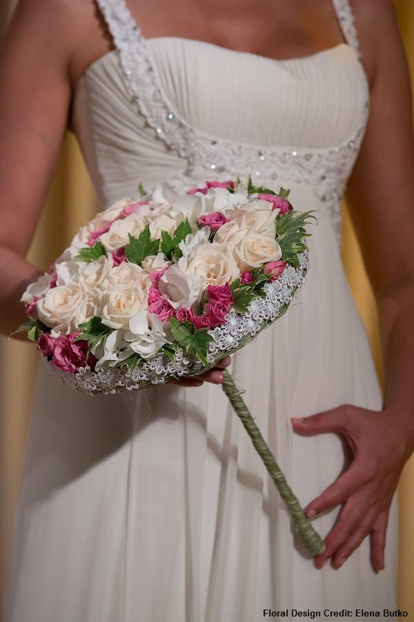 Bridal Bouquet with roses, hydrangea, mini roses, ivy  Floral design credit: Elena Butko