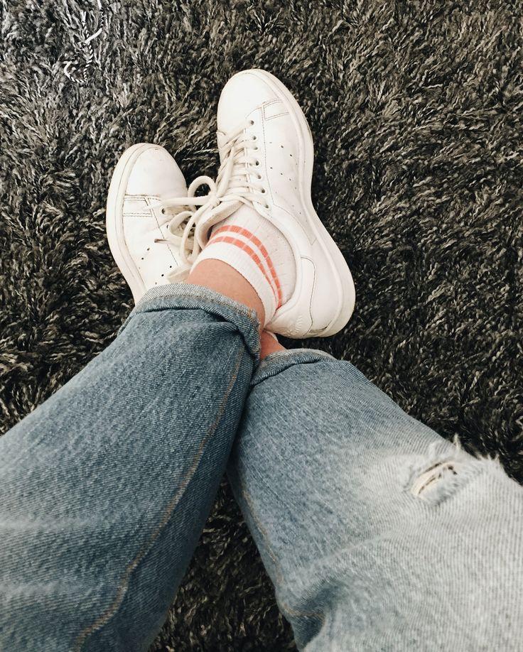 Striped socks & ripped jeans