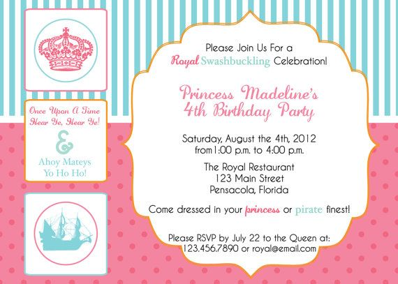 21 best Party Princess and Pirate images – Princess and Pirate Birthday Invitations