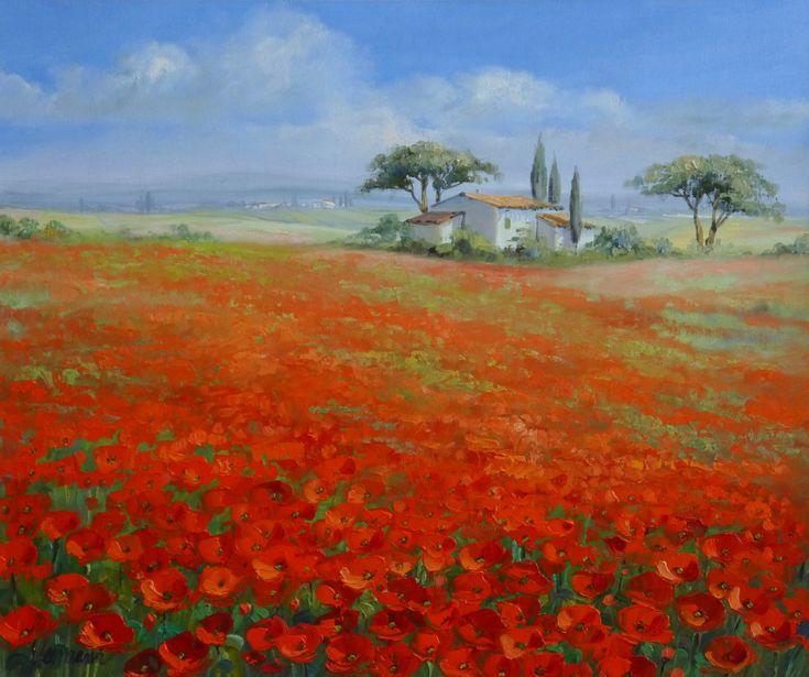 Landschaft der Toskana mit rotem Mohn – Gemälde, Öl auf Leinwand von Ute Herrmann | www.ute-herrmann-…