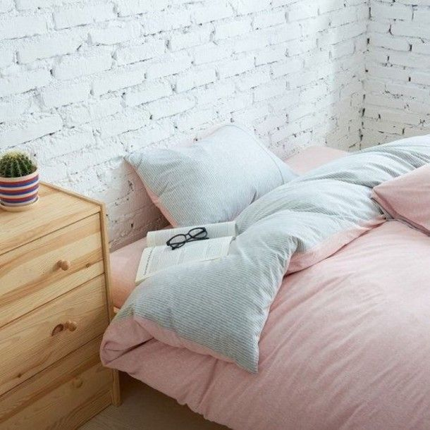 home accessory pastel pink bedding bedroom soft urban chic stripes room accessoires