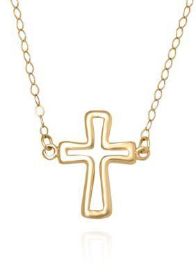 Belk & Co.  14K Yellow Gold Cross Necklace - Yellow - 17 In.
