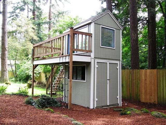 Cool shed with play room and deck up top outdoor living for Garden shed on decking
