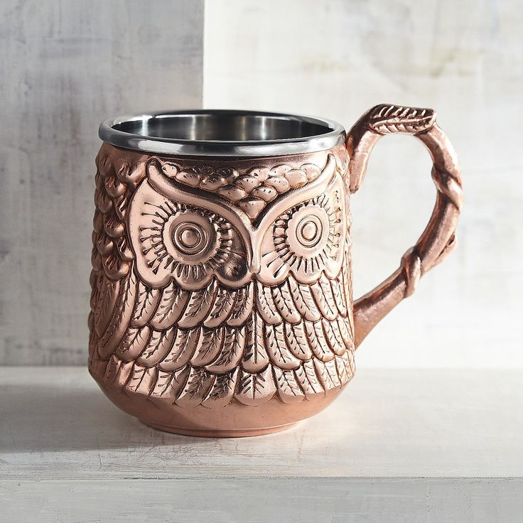 Our figural Moscow Mule mug is nothing if not a conversation starter—whether the topic is your great mixology skills or your one-of-a-kind style. Handcrafted of stainless steel and copper-plated, it's carefully sculpted to resemble a wise and watchful owl. A Pier 1 exclusive.