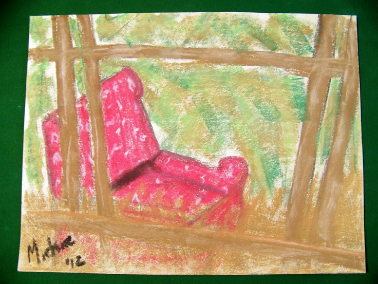 Walking through the streets of Helensburgh, Scotland, I came across the old chair lying against a dilapidated old fence.  It seemed completely out of place in its immaculate setting and made a strong emotional appeal on my senses.  I snapped a quick picture and went home to paint it.  Soft pastel on paper.  272 x 354 mm.