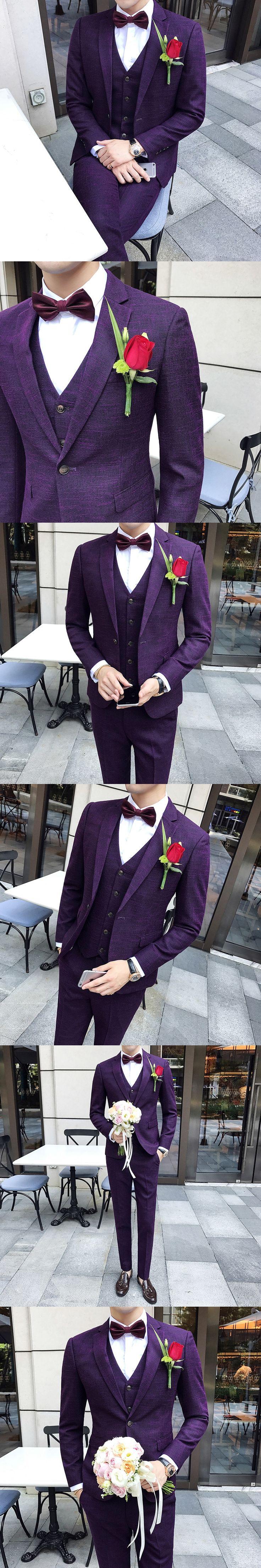 Purple Suits Mens Wedding Suits For Mens Classic Slim Fit Suits For Mens Purple Tuxedo Terno Vestido De Festa Dinner Party 2017