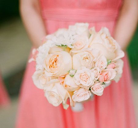 pink rose gardenia bridesmaid bouquet