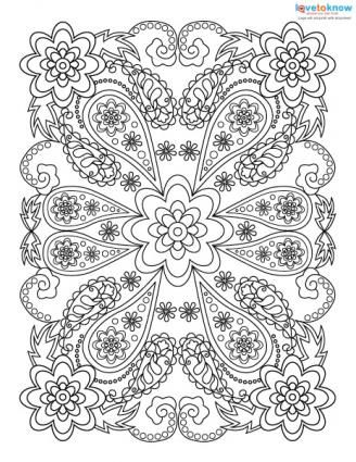 Flower Paisley Coloring pages colouring adult detailed advanced printable Kleuren voor volwassenen coloriage pour adulte anti-stress kleurplaat voor volwassenen Line Art Black and White