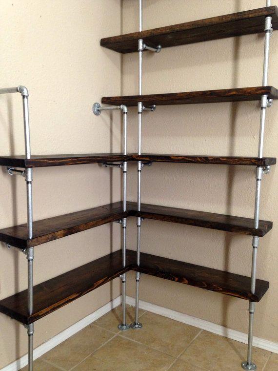 Corner shelving unit Corner shelf Pipe by IndustrialEnvy on Etsy