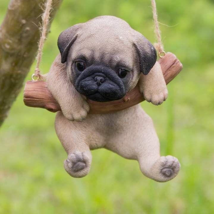 Hanging Pug Puppy Statue Baby Pugs Bulldog Puppies Cute Animals