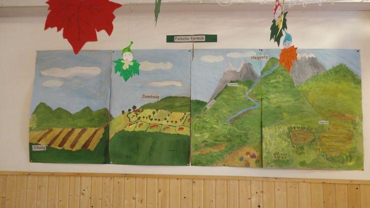 A domborzat elemei: festéssel készültek, csoportmunkában (4. osztály)