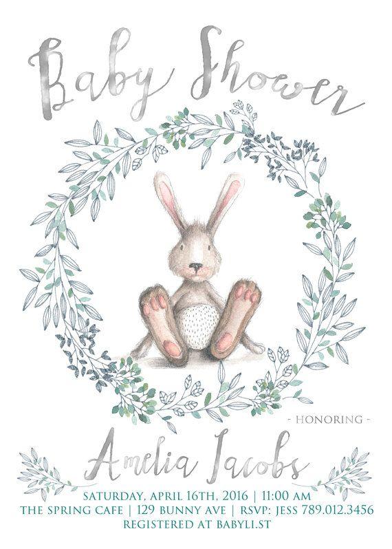 Spring Baby Shower Invitation Printable Bunny by INVITEDbyAudriana