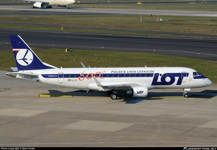 LOT - Polish Airlines Embraer ERJ-175LR (ERJ-170-200 LR) SP-LII aircraft, advertising 600th E-jet Livery, skating at Germany Dusseldorf Internationasl Airport. 10/03/2016.