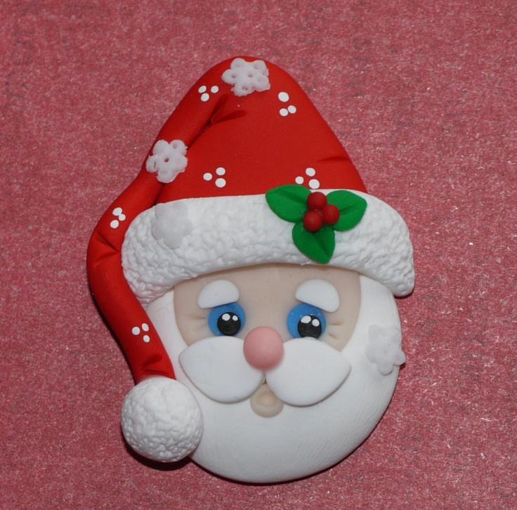 Polymer Clay Bow Center: Santa Flat