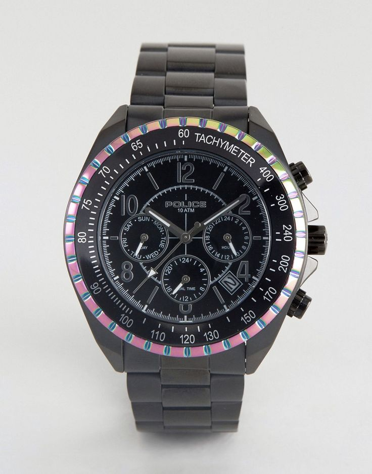 Get this POLICE's watch now! Click for more details. Worldwide shipping. Police Watch Multi Functional Dial Watch With Rainbow Top Ring - Black: Watch by Police, Stainless steel bracelet strap, Stainless steel case, Three hand movement, Sub-dial chronograph design, Date window, Mixed indices, Twin pushers to side, Folding clasp fastening, 10ATM: water resistant to 100 metres (330 feet), Presented in a branded box. (reloj, watches, mini clock, chronograph, chronometer, pulsometer, clock…