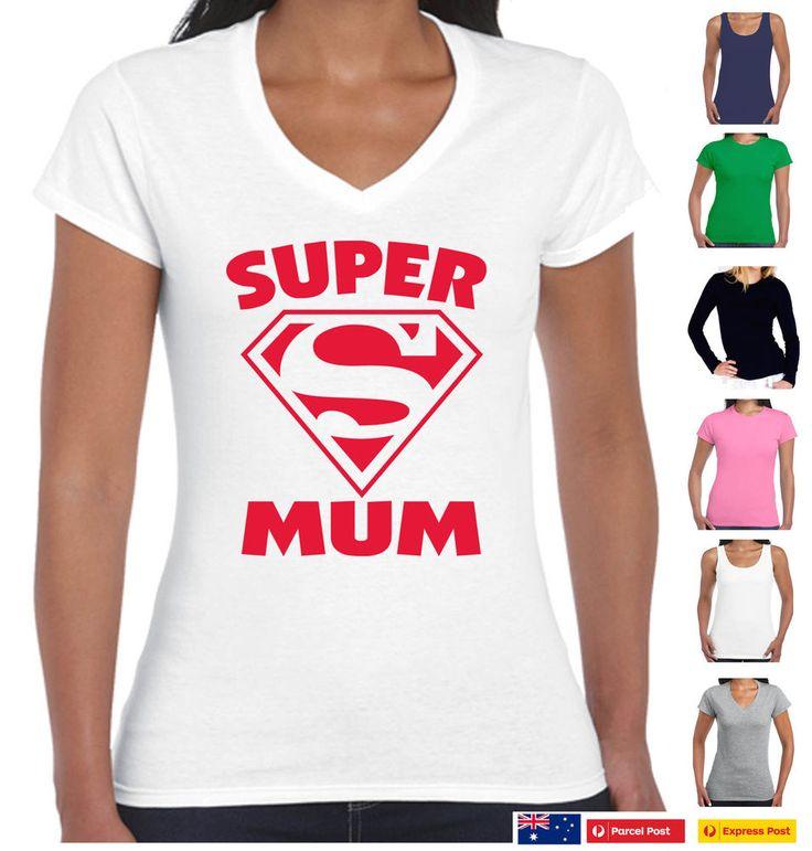 Funny T-Shirts Super mum Supermum mother's day gift Sizes Ladies Women's Aussie