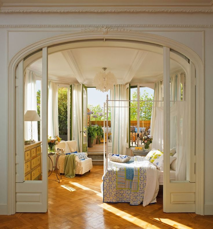image result for pocket doors sunroom  romantic bedroom