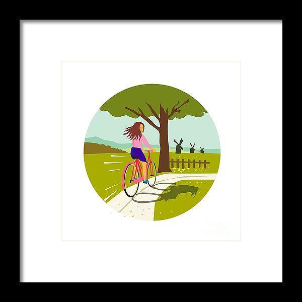 Retro Framed Print featuring the digital art Girl Riding Bicycle Up Tree Circle Retro by Aloysius Patrimonio