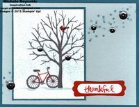 Handmade thank you card using Stampin' Up! products - Sheltering Tree Photopolymer Stamp Set, White Christmas Photopolymer Stamp Set, Frosted Sequins, Modern Label Punch, and Word Window Punch. By Michele Reynolds, Inspiration Ink, http://inspirationink.typepad.com/inspiration-ink/2015/01/sheltering-tree-snowbound-bicycle.html.