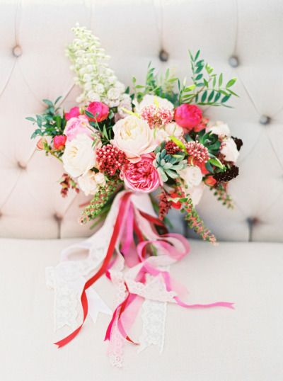 Obsessed with this bright pink bouquet: http://www.stylemepretty.com/destination-weddings/2014/12/30/hot-air-balloon-inspiration-shoot/ | Photography: Elena Koshkina & MaryMoon