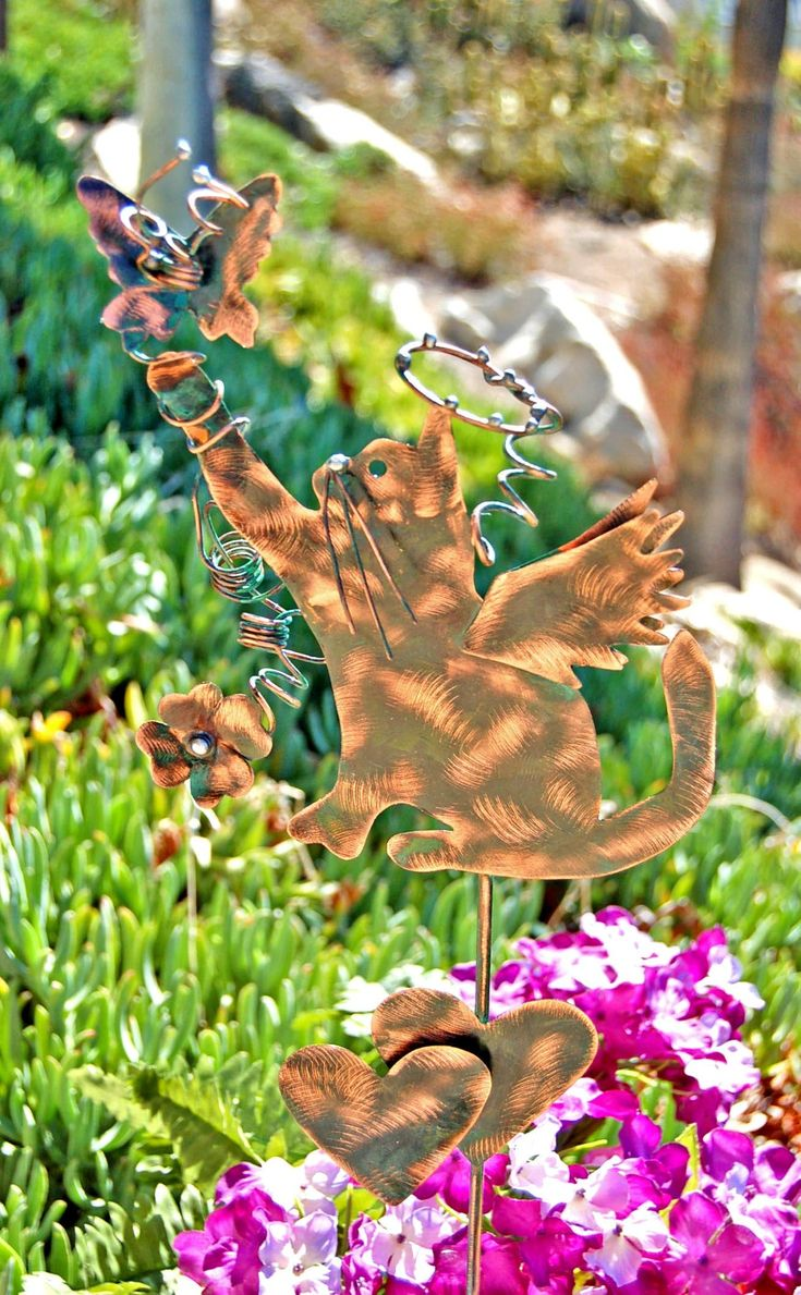 Cat Christmas Gift, Pet Memorial, Metal Copper Yard Art