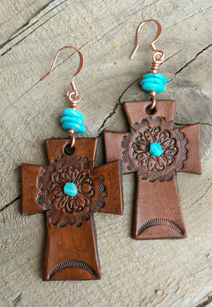 Cross Earrings  - Leather Earrings - Hand Tooled Leather - Turquoise Earrings - Brown Leather - Western Jewelry - Cowgirl Jewelry by HeartofaCowgirl on Etsy https://www.etsy.com/listing/217676669/cross-earrings-leather-earrings-hand