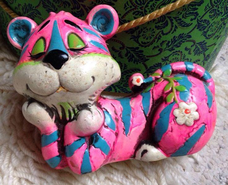 Vintage 60s Mid Century Psychedelic Folk Art Tiger Cat Bank Pink Hedaya Japan #HedayaCo