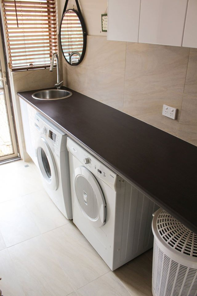 Prime Time Oak Laminate Finish     Laundry Idea - Laundry Tops - Laundry Cupboards - Laundry Ideas - Laundry Sink - Laundries - Laundry Renovation - On the ball bathroom completed project    Laundry Renovations Perth
