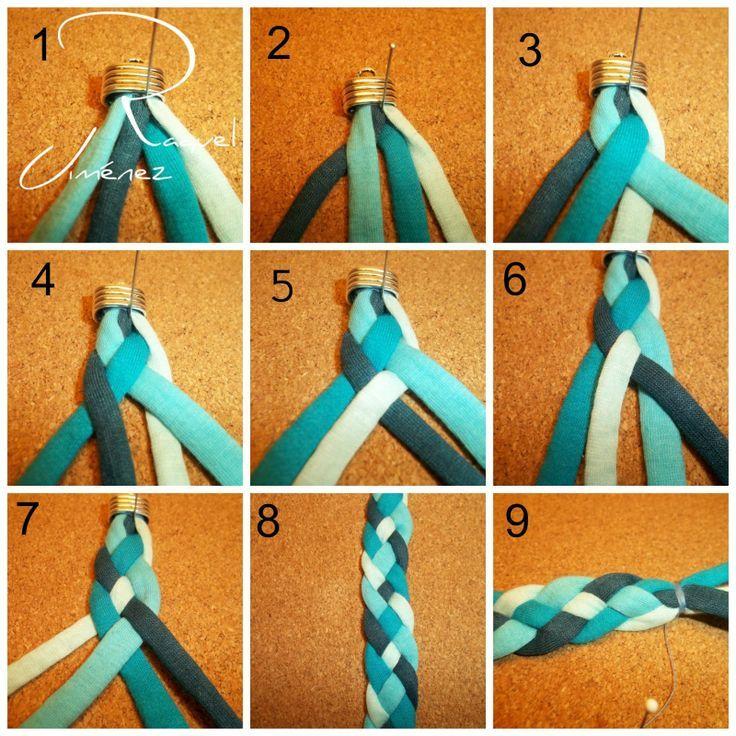 Como hacer una pulsera con trenza de seis cabos estilo - Como hacer trapillo ...