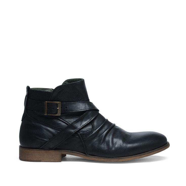 Kort laarzen met gesp zwart