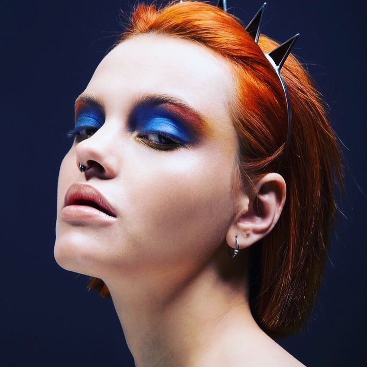 My make-up #bluemakeup #editorial #redhair
